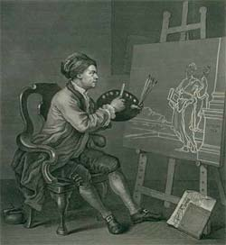 Engraving showing Hogarth at work on a painting.