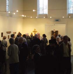 Visitors at the Private View, Sacred Space Gallery.